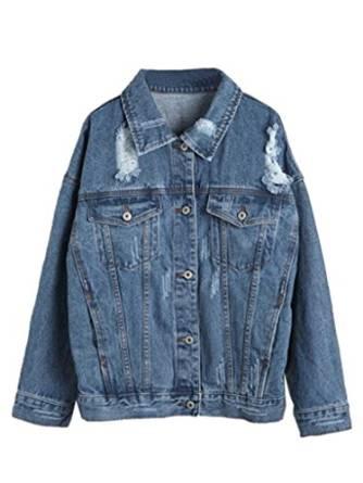Choies Women's Denim Blue Sport Distressed Denim Jacket Outwear at Amazon Women's Coats Shop