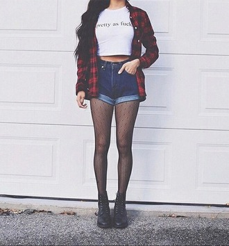 jacket flannel shirt tights hose boots shorts grunge dark indie boho tumblr weheartit red acid