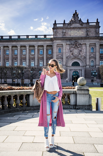 kenza blogger platform shoes peep toe heels white crop tops pink coat magenta ripped jeans