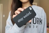 jewels,phone cover,stay weird,stay weird phone case,earphones,iphone case,black,cool,shirt,silicone case