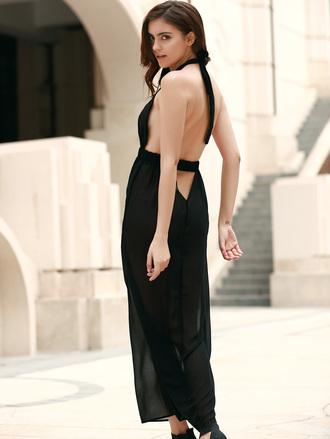 dress black maxi dress open back summer fashion trendy dressfo