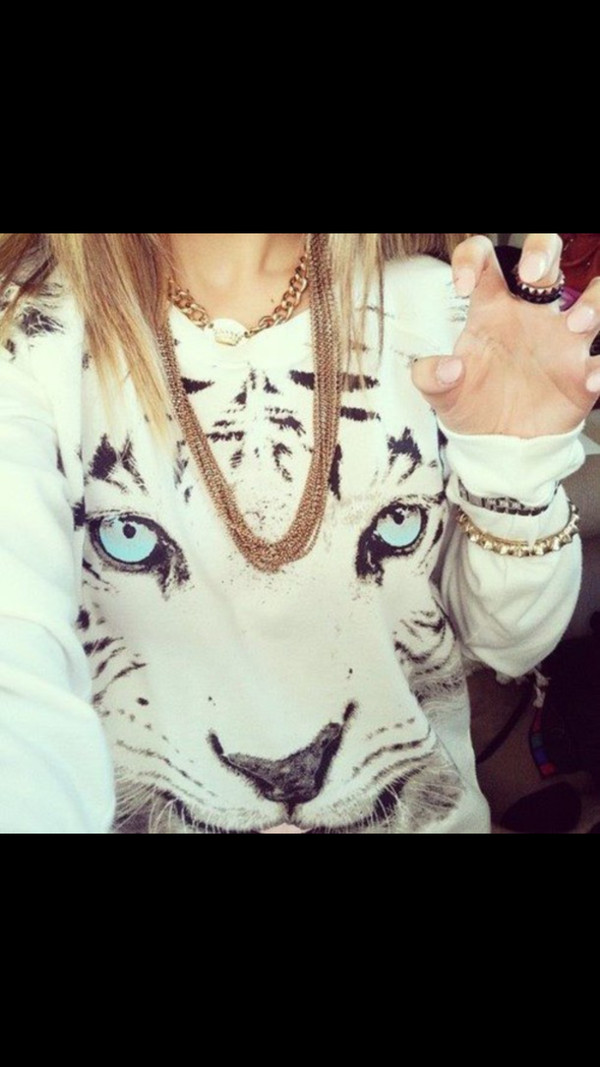 sweater tiger white shirt fashion cute blue leopard print studs pattern print printed top top tank top sweatshirt printed sweater