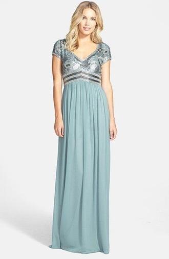 dress turquoise sequin dress short sleeve dress long prom dress prom dress modest dress long modest prom dresses empire waist