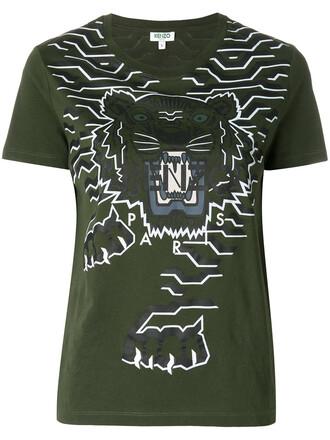 t-shirt shirt women tiger cotton green top
