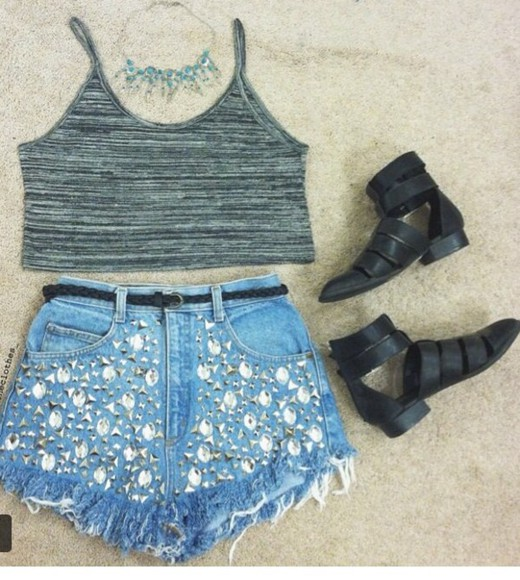 shorts shoes top diy h&m crop tops boots studded shorts