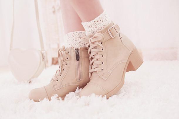 shoes short boots cute cream boots lace cream lace boots heel korean fashion botinnes beiges talon