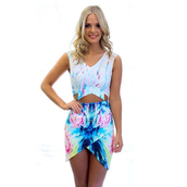 skirt,clothes,ink print,crop tops,special design,culbwear,summer dress,sleeveless dress,v neck dress,blue printed dress