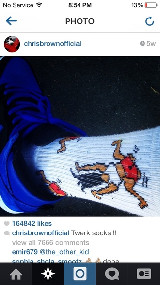socks chris brown red white