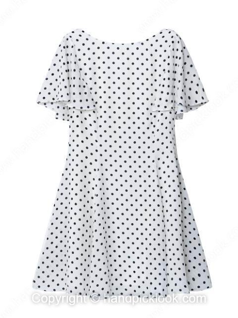White Short Sleeve Polka Dot Ruffles Pleated Dress - HandpickLook.com