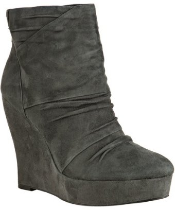 Boutique 9 dark grey suede 'Wafer' ruched wedge boots at Bluefly