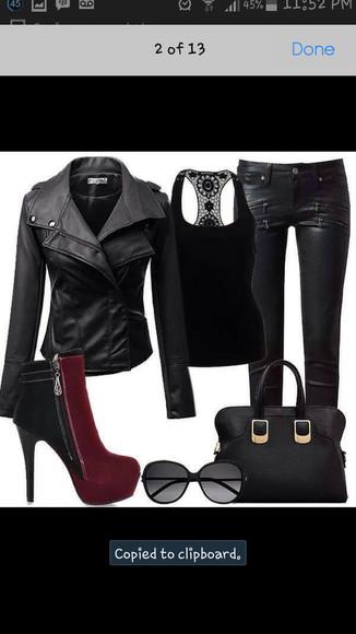 black shirt jacket black leather jacket leather pants