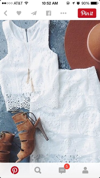 dress white lace top white lace skirt lace crop top