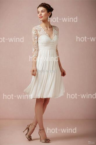 dress wedding dress short wedding dress sheindressau cheap wedding dresses lace top wedding dress white party party dress lace dress tulle dress white dress white lace dress v neck dress v neck elegant dress