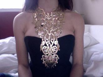 jewels necklace gold black dress black gold necklace chain top neck design gold design black shirt gold sequins slim dress dress