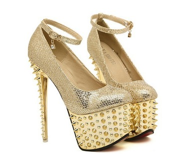com : Buy Hot sale 2014 sexy gold platform shoes stiletto high ...