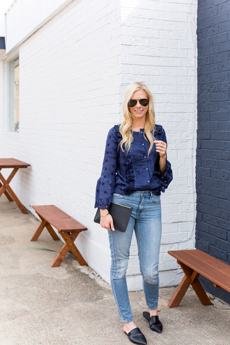 blouse tumblr blue blouse blue top denim jeans blue jeans shoes black shoes mules bag sunglasses