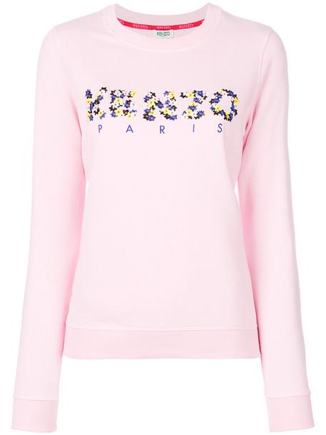 Kenzo sweatshirt embroidered women spandex floral cotton purple pink sweater