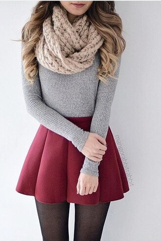skirt scarf leggings cute pretty fall outfits sweater red skirt mini skirt shirt fall sweater tights grey sweater black top tumblr skater skirt red red skater skirt