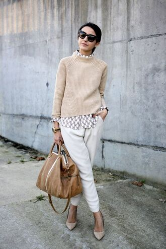 sweater white and beige outfit white and beige beige sweater pants white pants bag camel pumps pointed toe pumps sunglasses black sunglasses tumblr