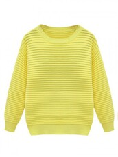 sweater,Choies,yellow,texture,knit,ribbed jumper
