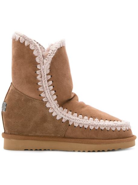 Mou women wool brown shoes