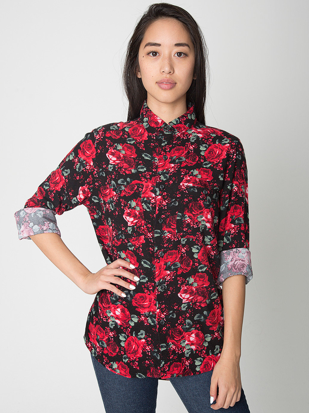 Unisex printed rayon long sleeve button