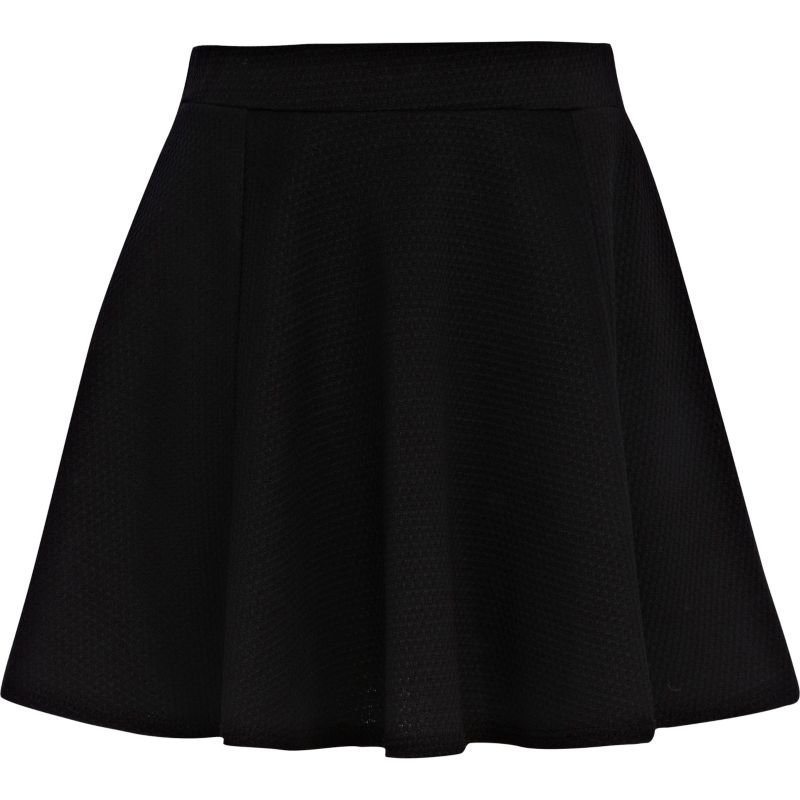 Girls black textured skater skirt - skirts - girls on Wanelo