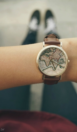 jewels watch world explorer explore earth map travel map print map watch
