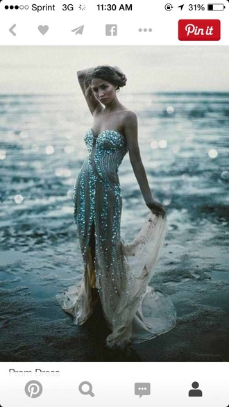 dress blue mermaid prom prom dress strapless gorgeous sea creatures