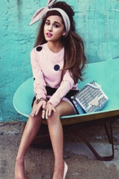 sweater,pink and black,polka dots,ariana grande,cardigan,ariana grande sweaterr