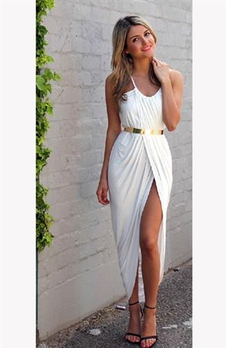 White maxi dress with golden belt