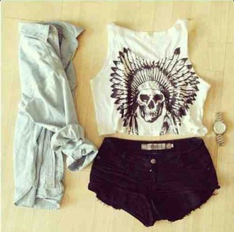 tank top skull feathers indian native american black and white