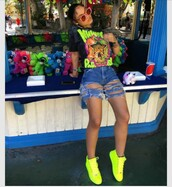 shoes,neon yellow,high top sneakers,yellow sneakers,shirt,t-shirt,printed t-shirt,jeans,india westbrooks,shorts,neon graphic tee,high waisted ripped shorts,neon shoes,neon,graphic tee,yellow,black,denim,ripped shorts