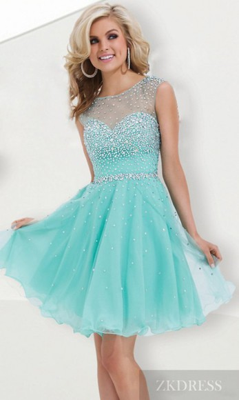 gown prom dress formal dress beading homecoming dress short dress a-line dress lovely beaded dress organza illusion light blue special occasion dress party dress