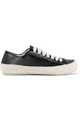 sneakers suede satin black shoes