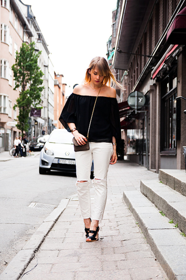 chaloth blouse jeans shoes bag jewels