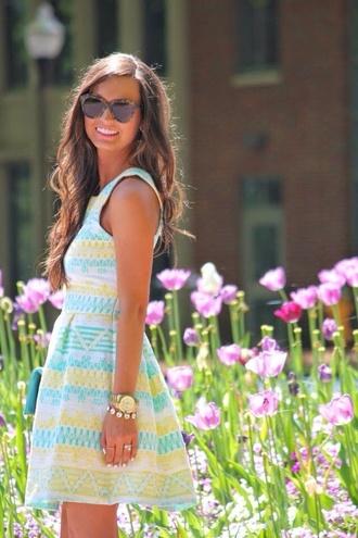 dress floral dress blue preppy dress yellow pattern sundress southern style day dress sunglasses patterned dress summer dress yellow white blue