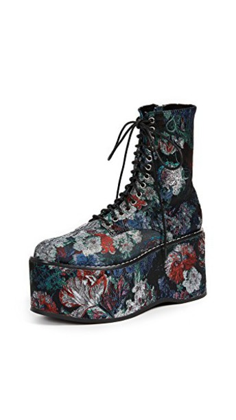 Jeffrey Campbell combat boots floral blue grey shoes