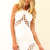 White Party Dress - White Bodycon Dress with Lattice | UsTrendy