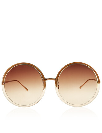 oversized rose gold rose sunglasses round sunglasses gold nude