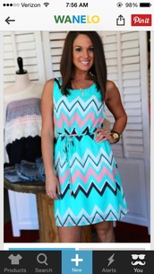 dress,pink blue whie chevron dress