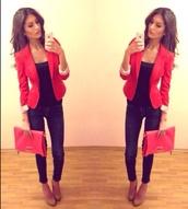 bag,red blazer,red,clutch,jeans,pumps,iphone,high heels,platform high heels,jacket,shoes,dress,coat