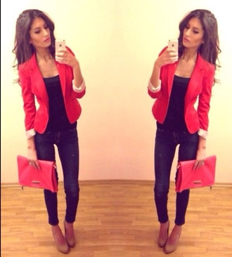 bag red blazer red clutch jeans pumps iphone high heels platform high heels jacket shoes dress coat