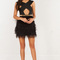 Bandage feather skirt dress in black and nude