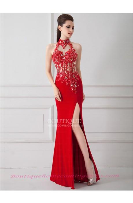 Sheath/column high neck chiffon prom dress