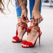 shoes,aquazzura,Aquazzura sandals,sandals,high heel sandals,red sandals,red high heel sandals,fringe shoes,fringes,fringed sandals,Red suede sandals