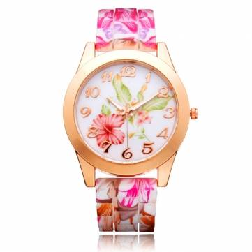Geneva silicone flower butterfly round gold women quartz wrist watch