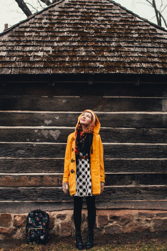 the clothes blogger print yellow coat duffle coat coat scarf dress tights shoes