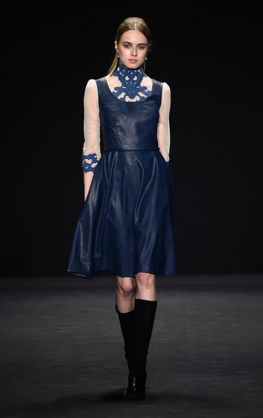 dress fashion week 2015 leather midi dress blouse