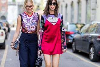 dress fashion week street style red dress mini dress slip dress dress over t-shirt sweater printed sweater top sequin top sequins lilac pants blue pants wide-leg pants sunglasses glasses streetstyle